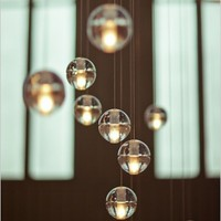 Crystal bubblel chandelier LED G4 Customizable Modern Ball Suspension Ceiling light