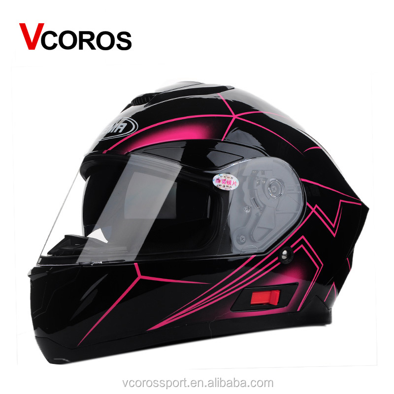 Vcoros custom motorcycle helmet full face safety motorbike helmet with inner sun visor DOT Approved
