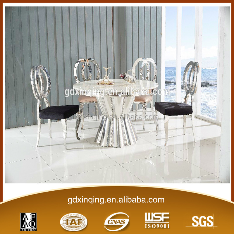 Stainless Steel Base White Marble Top Small Round Dining Table