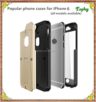 2016 New Arrival cell phone case TPU+PC+PET waterproof 3 in 1 Armored Tank case cover For iPhone 6 / 6s with kickstand