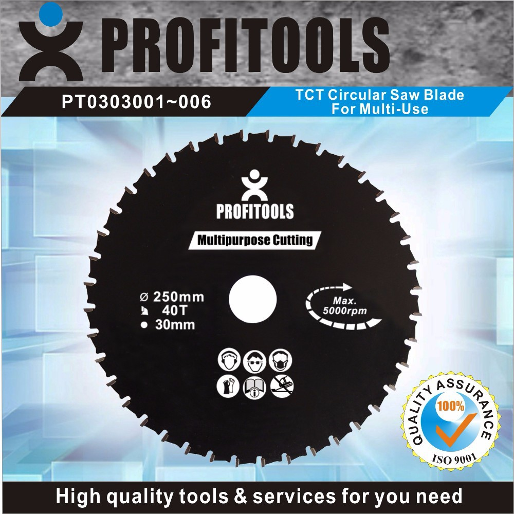 Professional quality multi purpose 250mm TCT saw blades