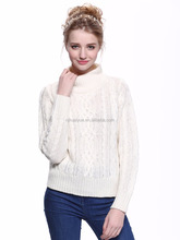 latest Red cable knit turtleneck sweater design for girls