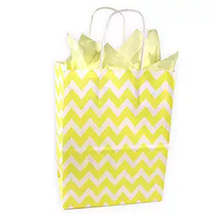 lemon yellow chevron pattern gift paper bag