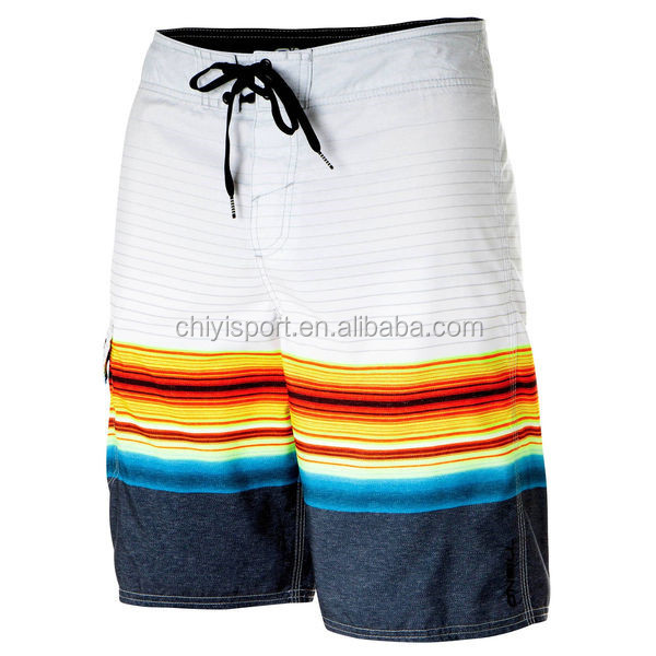 Latest design sublimated waterproof mens board shorts white stripe printing swimming shorts trunks
