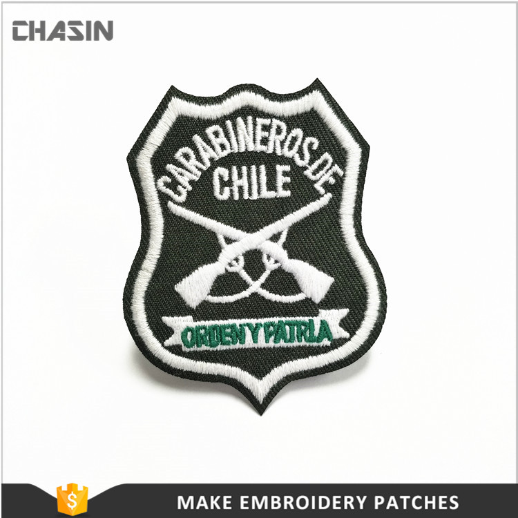 High quality custom embroidered coat of arm patch with hook and loop backing