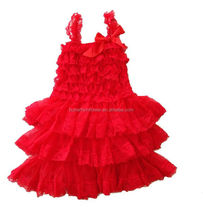 Xmas Red Lace Birthday Dress For Baby Girl 2014 Wholesale Beautiful Baby Girl Wedding Dress Newborn Baby 1year Old Party Dress