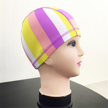 Adult Colorful printing Nylon Spandex swimming cap