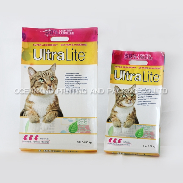 heavy duty handle hole quad seal bottom cat litter bag