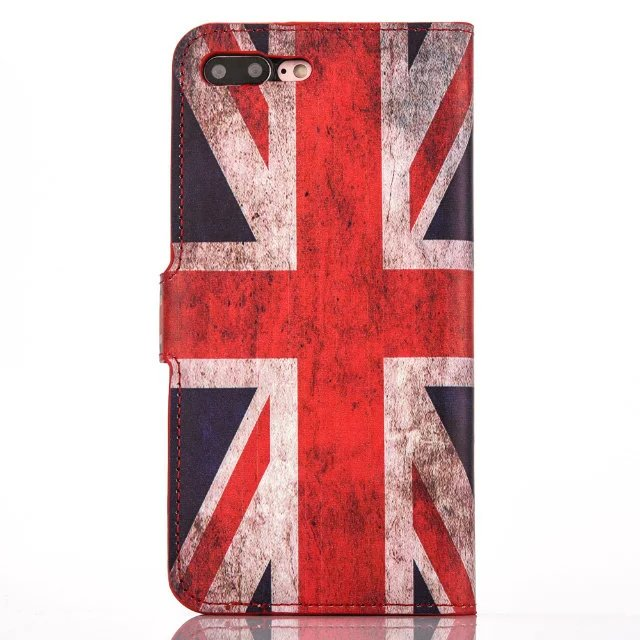 UK American Flag Pattern Leather Flip Stand Card Solt Wallet Case Cover for iPhone 7 / 7 plus