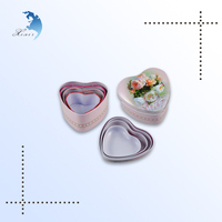 High Quality Promotional 3 Sets Heart Shape Gift Metal Trinkets Boxes