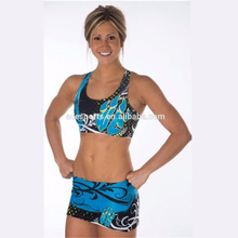 short sleeve cheerleading uniforms crop top and shorts