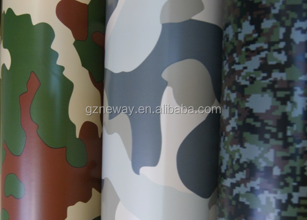 four color camouflage car wrapping film with 1.52*50m and 120g release paper for protecting car body