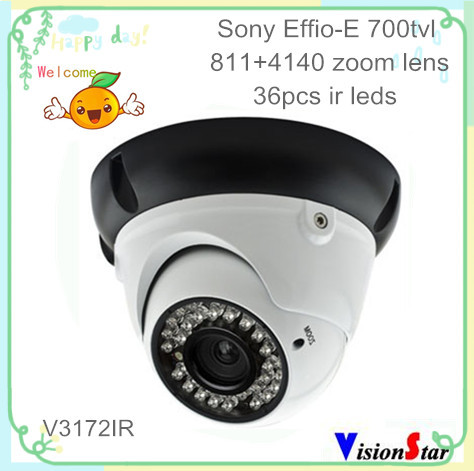 Color sony ccd surveillance 700tvl effio-e osd iris lens security cctv ir dome camera