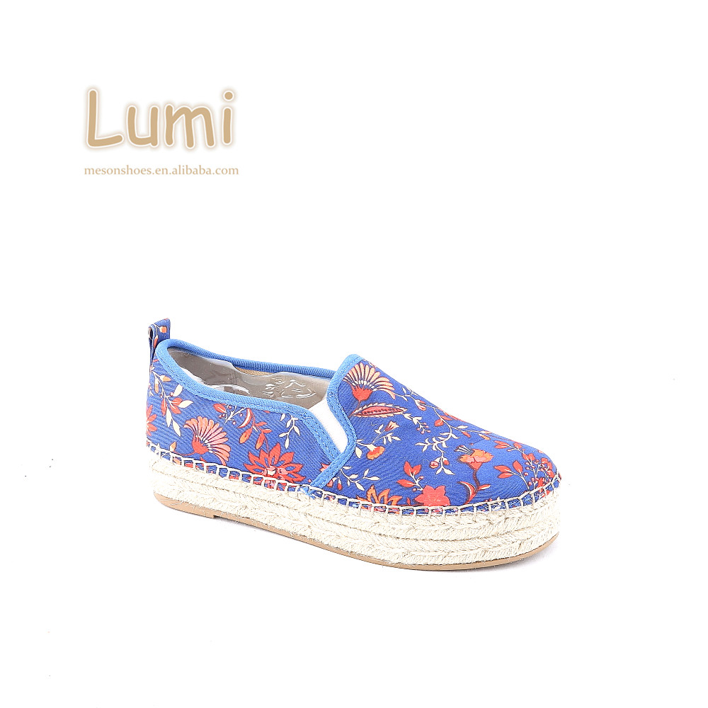 wholesale women blue espadrilles ladies convenient slip-on women fashion canvas