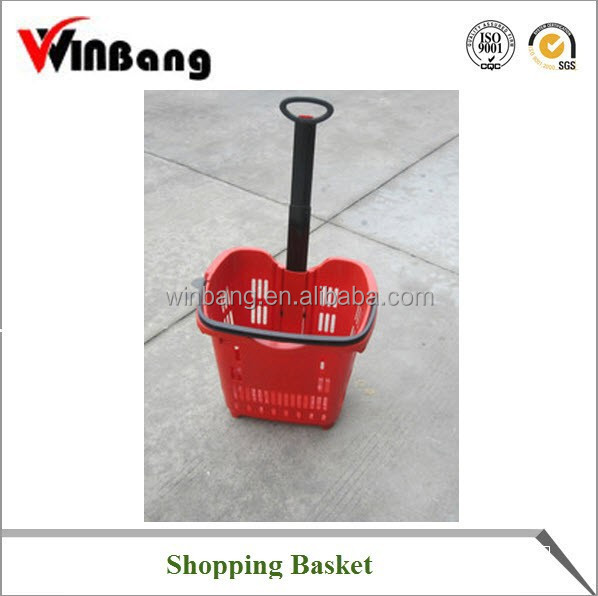 Winbang Good Price Supermarket Trolley Hand Basket with Wheels