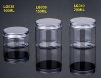 100ML/150ML/200ML Clear Bottom Aluminum Metal Cap Amber Empty cream jar for body care Plastic Cosmetic Jar