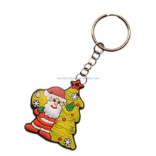 Santa Claus & Merry christmas gift/Supply custom rubber soft pvc keychain at factry price