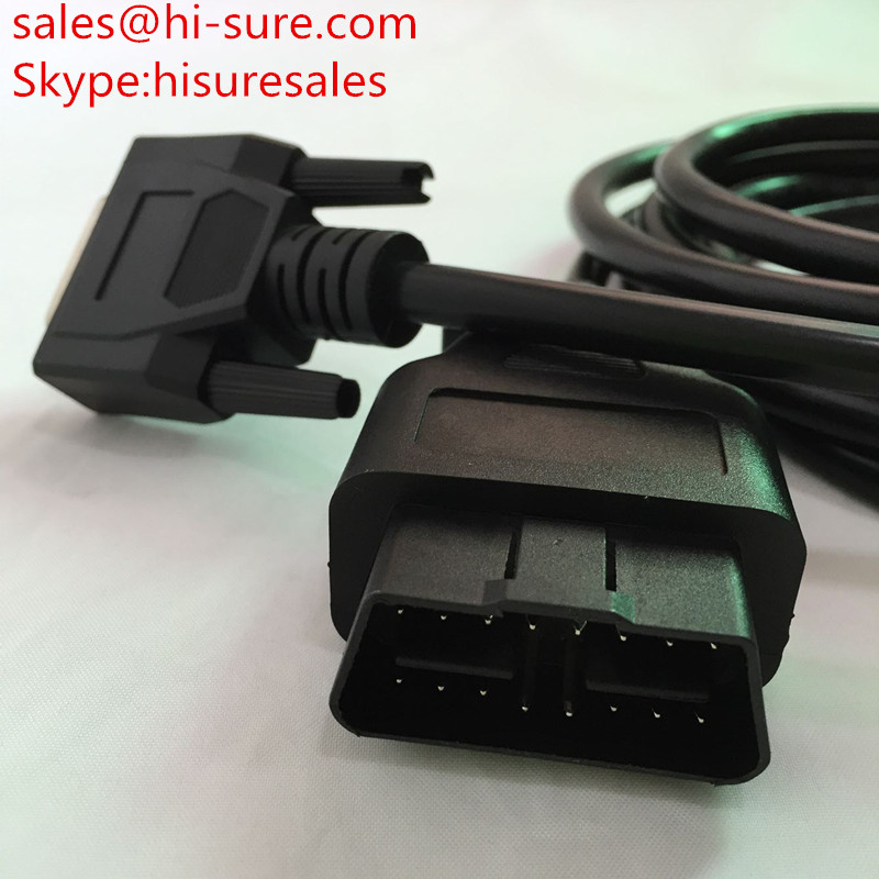 16pin OBD2/OBDII male connector to DB15P male cable