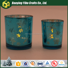Blue Glass Votive Candle Holder for Home Decoration
