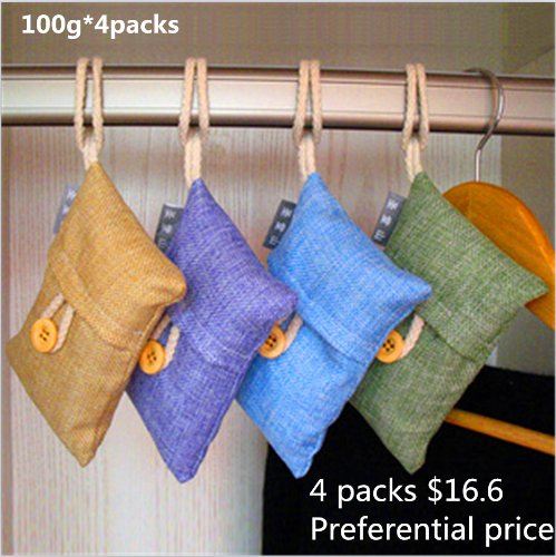 100% Natural Auto Air Purifying Bamboo Charcoal Bag/ Air Freshener (4packs*100g)