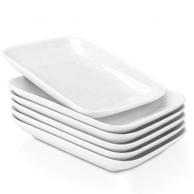 Flat bulk rectangle shape salad entree serving western white porcelain <strong>plate</strong> with rimmed