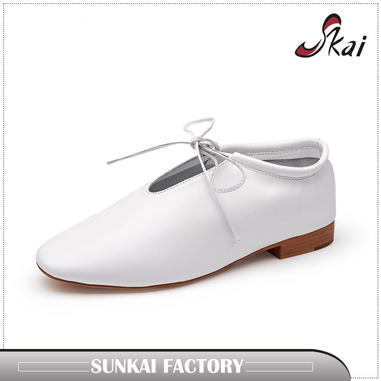 new design ladies flat leather ballerina pumps women leather loafer shoes