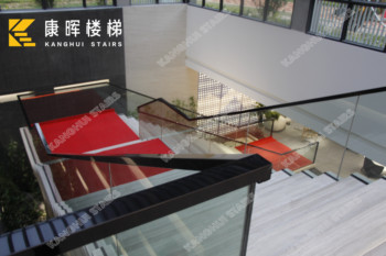 glass straight staircase indoor