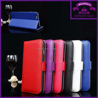 factory cheap price leather card holder case for iphone 6 flip to side phone case