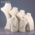 FANXI Elegant Wholesale OEM Beige Linen Necklace Pendant Jewelry Display Standing Bust Shop Showcase Doll Stand Linen Mannequin