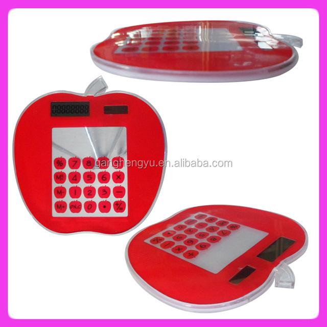 Apple shape touch screen solar power transparent calculator