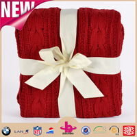 Cheap new style One ply 100% Cotton and cable chunky knit blanket throw/how to cable knit a free baby blanket pattern