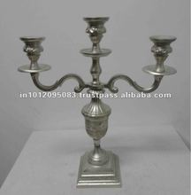 Aluminum New Look Finish 3 Arm Candelabra