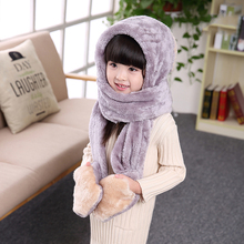 2016 new arrival lovely children winter warm fleece plush hat glove scarf sets
