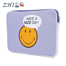 Custom unisex smile face print waterproof pu felt pofoko laptop sleeve case for notebook and tablet pc