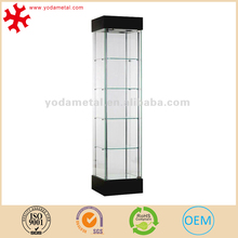 Lockable multi-tier crystal glass display cabinet for jewelry store
