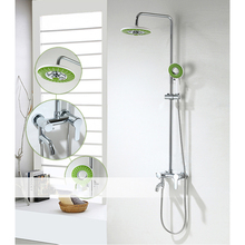 Modern Bathroom Mixer Shower Round Chrome Thermostatic Twin Head Set with Valve