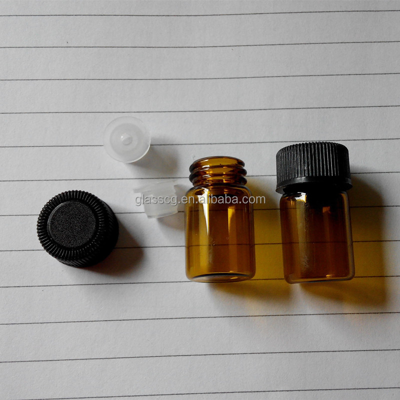 2ml 5/8 dram 15x26mm Amber Glass <strong>Bottle</strong>/Orifice Reducer/Plastic Cap