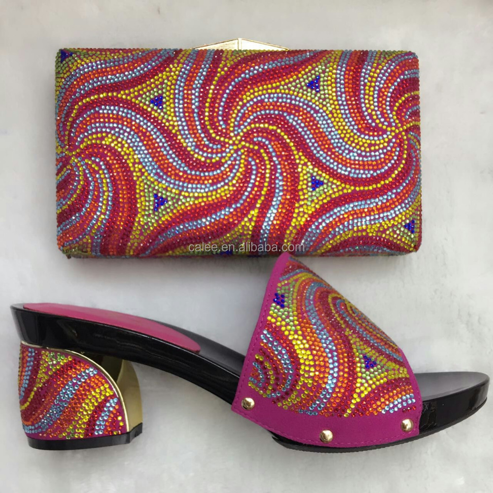Italian Female Shoes And Matching Bags/Wholesale Crystal Shoes Set