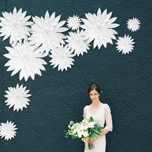 15-60cm Wedding Party Hen Party Wall Decorations White Color Paper Flowers Wedding