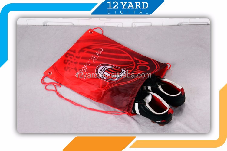Custom Logo Printed Promotional AC Millan gym Sports Drawstring backpack