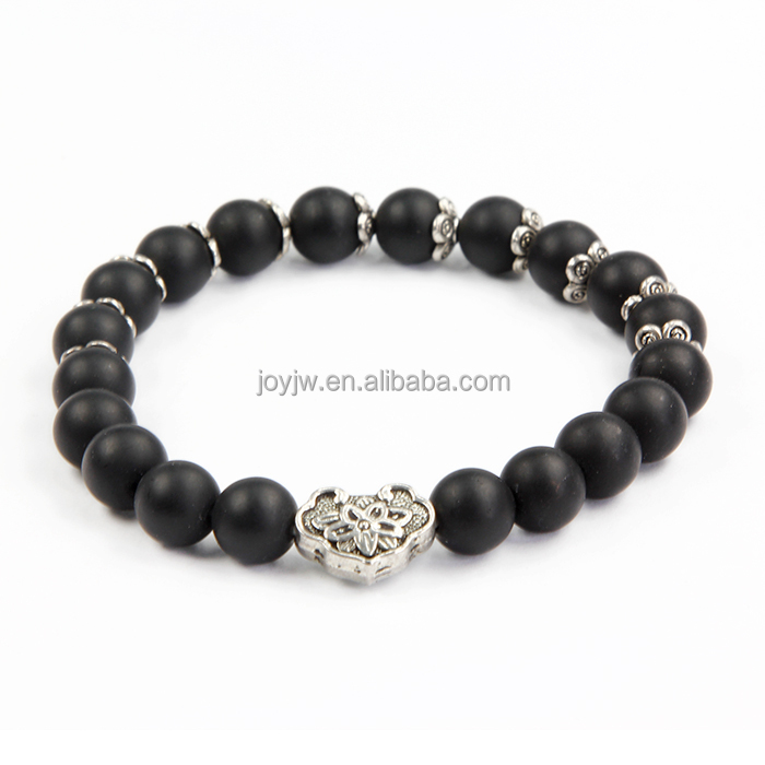8mm Natural black frosted agate color gemstone beads bracelet