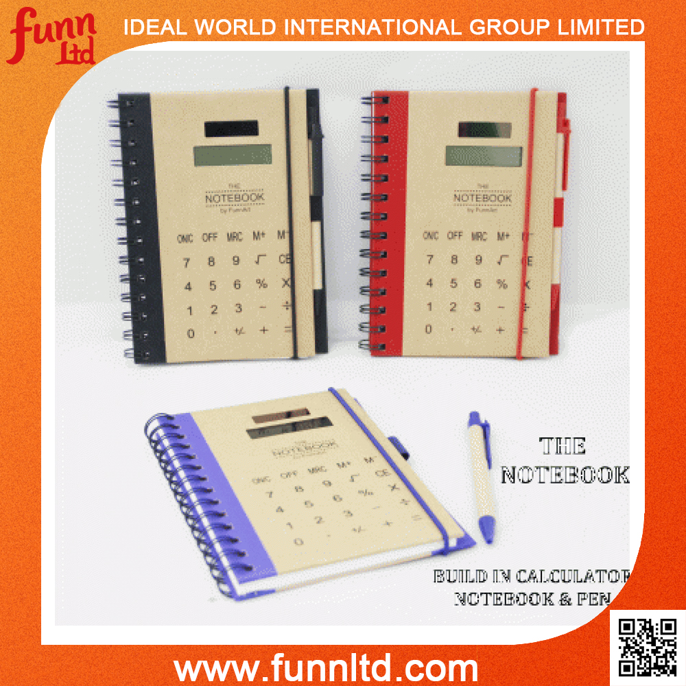 Solar Calculator Notebook with Ballpoint pen Set