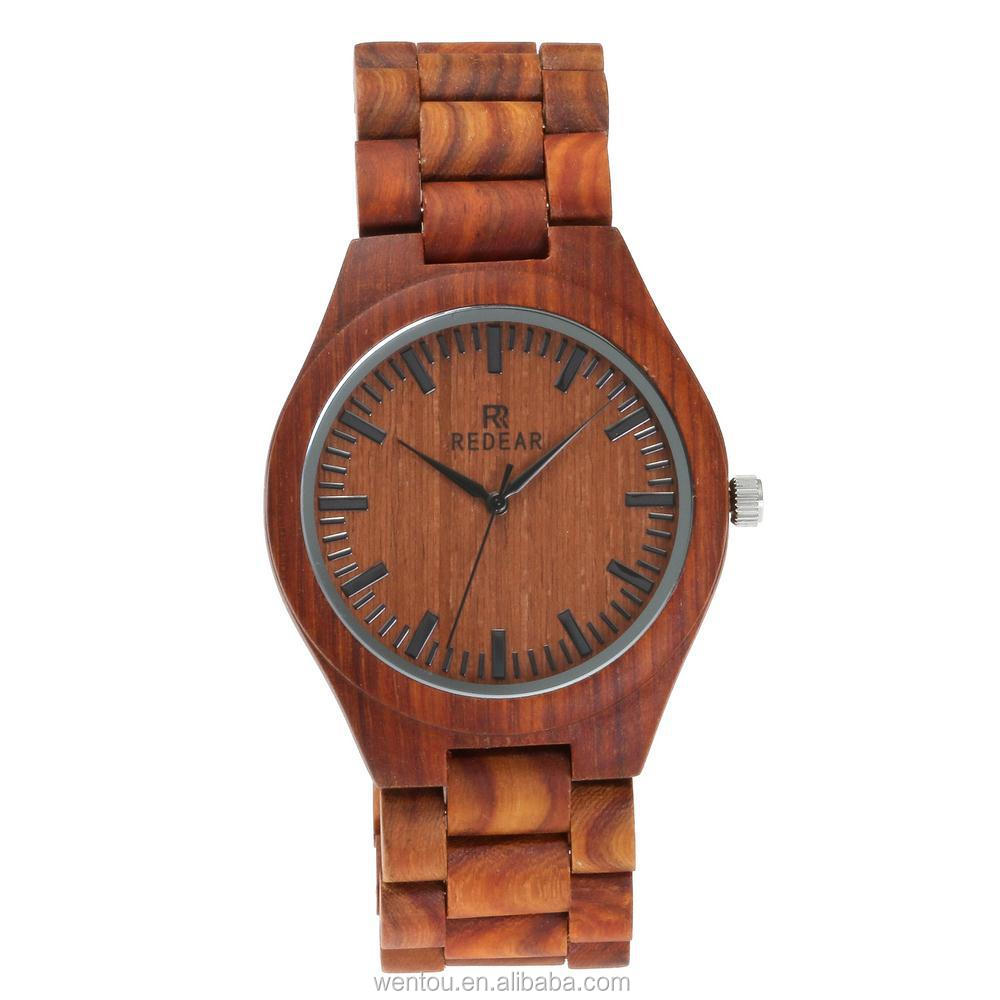 wholesale wentou Fashion luxury high-grade quartz men's wood red faced watches