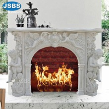 Cultured Decorative Marble Carved Cherub Angel Fireplace Mantel for sale