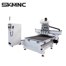 China Auto Tool Changer Four Processes 1325 Wood Cnc Router Production Line For Custom Wooden Panel Funiture and Door For Sale