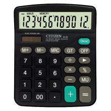 M28 Solar Calculator 12-digit Display Dual Power Black Calculator