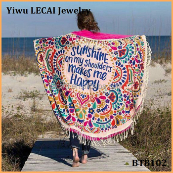Sunshine on my shoulders makes me happy large round beach towels