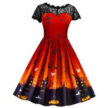 Halloween costume polyester A line dress hollow transparent ladies dress patchwork roupas femininas