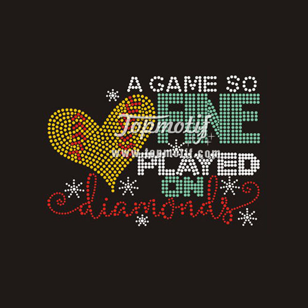 A Game So Fine Softball Hot Fix Iron On Rhinestone Motifs