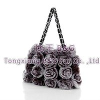 5811 Fashion Lady Genuine Rabbit Fur Bag with Flowers